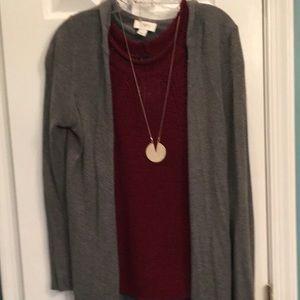 Gray Sweater Jacket w/hood, slightly Asymmetrical